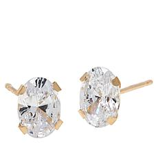 Absolute™ 14K Gold 1.50ctw Cubic Zirconia 88-Facet Oval Stud Earrings