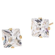 Absolute™ 14K Gold 4ctw Cubic Zirconia Princess Stud Earrings
