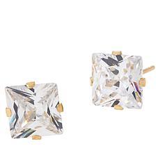 Absolute™ 14K Gold 4ctw Cubic Zirconia Princess Stud Earrings