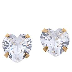 Absolute™ 14K Gold 4ctw CZ Heart Stud Earrings