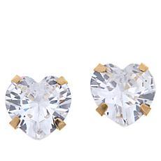 Absolute™ 14K Gold 4ctw CZ Heart Stud Earrings