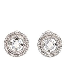 Absolute™ 1.53ctw Dancing CZ Round Halo Stud Earrings