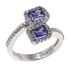 Absolute™ 1.60ctw CZ Blue and Clear Sterling Silver Bypass Ring