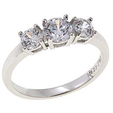 Absolute™ 1ctw Cubic Zirconia Sterling Silver Round 3-Stone Ring