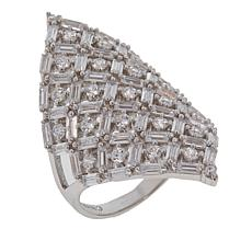 Absolute™ 2.40ctw CZ  Round and Baguette Shield Ring