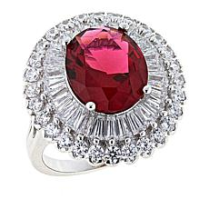 Absolute™ 2.67ctw CZ and Simulated Gem Baguette and Round Dome Ring