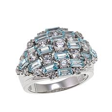 Absolute™ 2.67ctw CZ Baguette and Round Blue and Clear Dome Ring