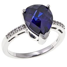 Absolute™ 2.80ctw CZ Sterling Silver Tanzanite-Color Pear & Pavé Ring