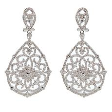 Absolute™ 2.96ctw CZ Sterling Silver Lace Scroll Drop Earrings