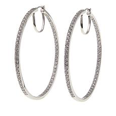 Absolute™ 3.48ctw CZ Sterling Silver Inside-Outside Hoop Earrings