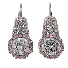 Absolute™ 3.74ctw CZ Pink and Clear Elongated Halo Drop Earrings