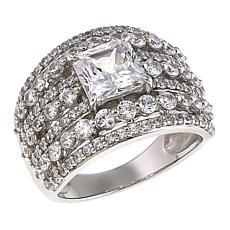 Absolute™ 3.76ctw CZ Princess with Round Sides Multi-Row Ring