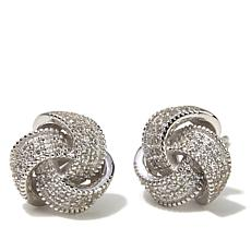 Absolute™ .42ctw CZ Tri-Ribbon Pavé Stud Earrings