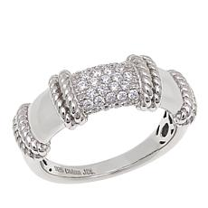 Absolute™ .43ctw CZ Sterling Silver Rope Detail Pavé Band Ring