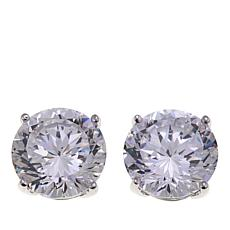 Absolute™ 4ctw CZ Sterling Silver 100-Facet Round Stud Earrings