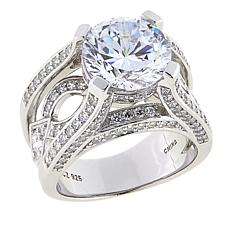 Absolute™ 5.46ctw CZ Sterling Silver 100-Facet Ring