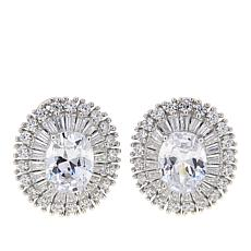 Absolute™ 5.76ctw CZ Sterling Silver Oval Starburst Stud Earrings