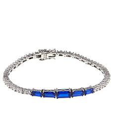 "Absolute™ 6.06ctw CZ and Created Sapphire Baguette 6-3/4"" Bracelet"