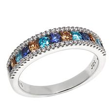 Absolute™ .67ctw CZ Clear and Gem-Color Sterling Silver Band Ring