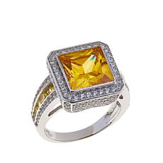 Absolute™ 7.56ctw Yellow and Clear CZ Square Pavé Ring
