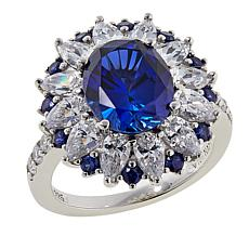 Absolute™ 7.58ctw Created Sapphire and Clear CZ Starburst Ring
