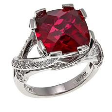Absolute™ 8.56ctw CZ and Created Ruby Twist Shoulders Ring