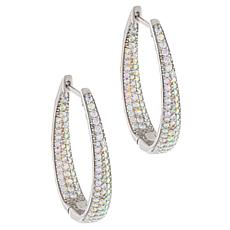 Absolute™ Aurora Borealis-Color Inside-Outside Oval Hoop Earrings