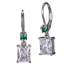 436bf7ad0 Absolute™ Clear and Green Cubic Zirconia Emerald-Cut Drop Earrings