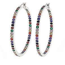 Absolute™ Colors of Simulated Sapphire Rainbow Hoop Earrings