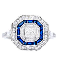 Absolute™ Cubic Zirconia and Simulated Blue Sapphire Octagon Ring