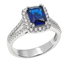 Absolute™ Cubic Zirconia and Simulated Blue Sapphire Pavé Frame Ring