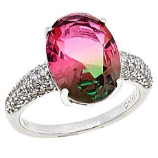 Absolute™ Cubic Zirconia and Simulated Pink-Green Tourmaline Ring