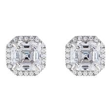 Absolute™  Cubic Zirconia Asscher-Cut Halo Stud Earrings