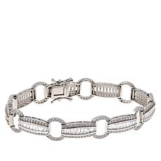 Absolute™ Cubic Zirconia Baguette and Pavé Station Tennis Bracelet