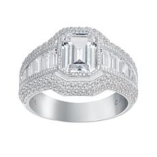 Absolute™  Cubic Zirconia Emerald-Cut with Baguette & Round Sides Ring