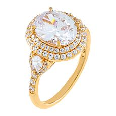 Absolute™ Cubic Zirconia Oval with Pear Sides 3-Stone Engagement Ring