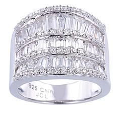 Absolute™  Cubic Zirconia Round and Baguette Saddle Ring
