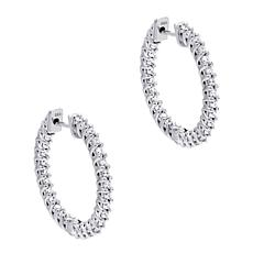 Absolute™ Cubic Zirconia Round Inside-Outside Hoop Earrings