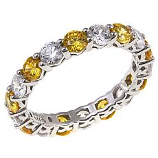 Absolute™ Cubic Zirconia Sterling Silver Clear and Yellow Band Ring