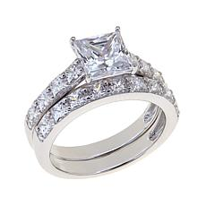 Absolute™ Cubic Zirconia Sterling Silver Princess-Cut Pavé Ring Set