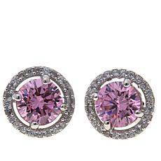 Absolute™ CZ and Simulated Pink Sapphire Earrings