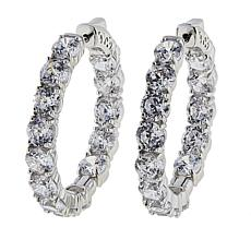Absolute™ CZ Platinum-Plated Aurora Star 101 Facets Hoop Earrings