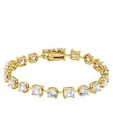 Absolute™ Gold-Plated Asscher and Round Tennis Bracelet
