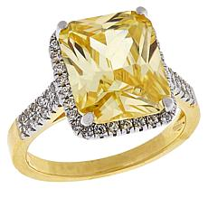 Absolute™ Gold-Plated CZ Canary and Clear Emerald-Cut Pavé Ring