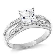 Absolute™ Princess-Cut and Pavé Cubic Zirconia Split-Shank Ring