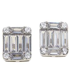 Absolute™ Rhodium-Plated Emerald-Cut and Round Stud Earrings