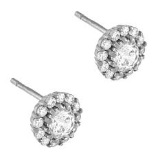 Absolute™ Round-Cut Cubic Zirconia Halo Stud Earrings