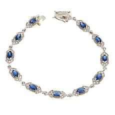 Absolute™ Simulated Blue Sapphire Marquise Line Bracelet