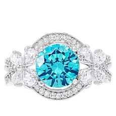 Absolute™ Simulated Colored Gemstone Pear Accent Floral Ring