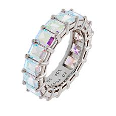 Absolute™ Sterling Silver Aurora Borealis Emerald Cut Eternity Ring